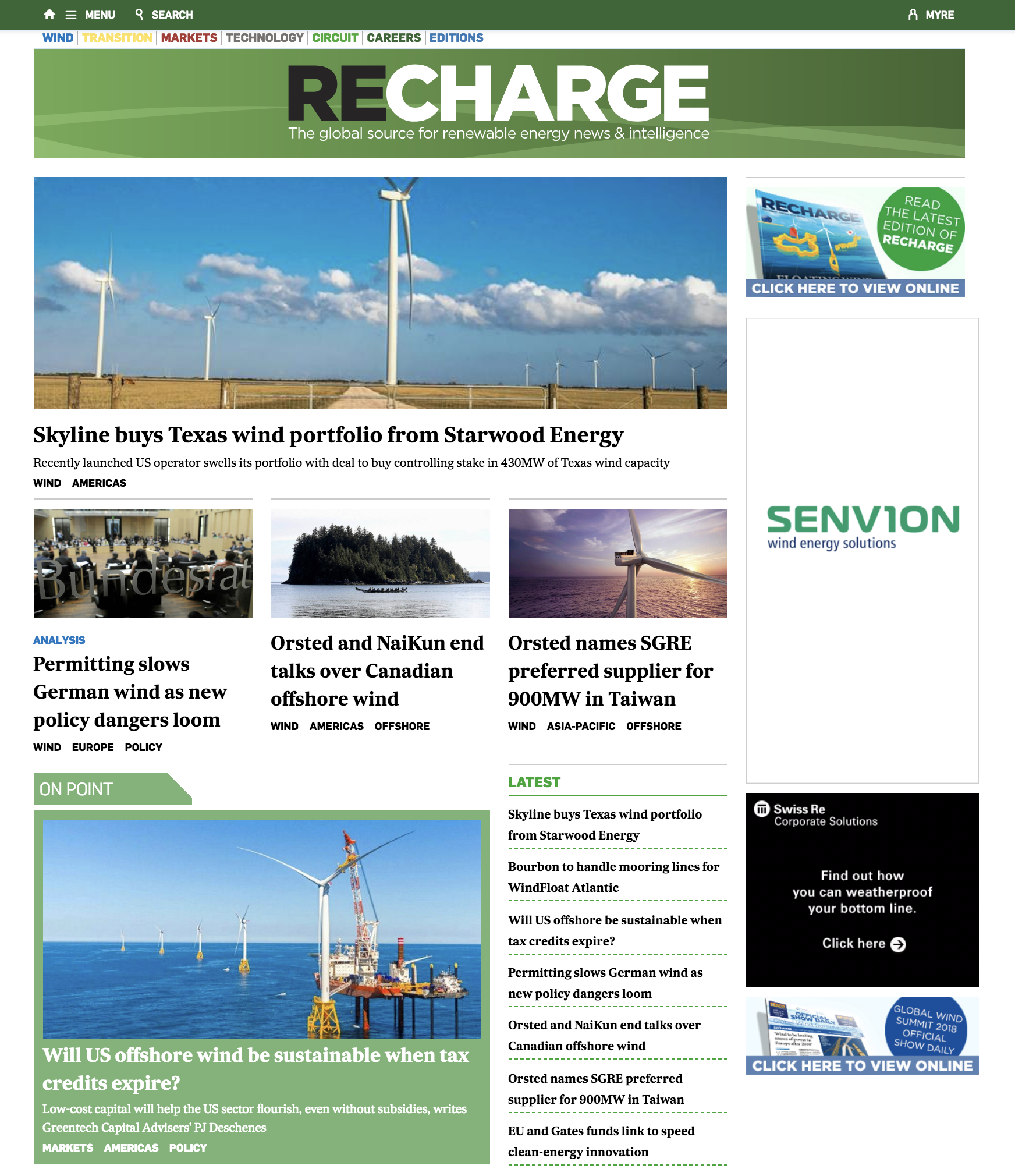 screenshot of the recharge news homepage on October 22 2018