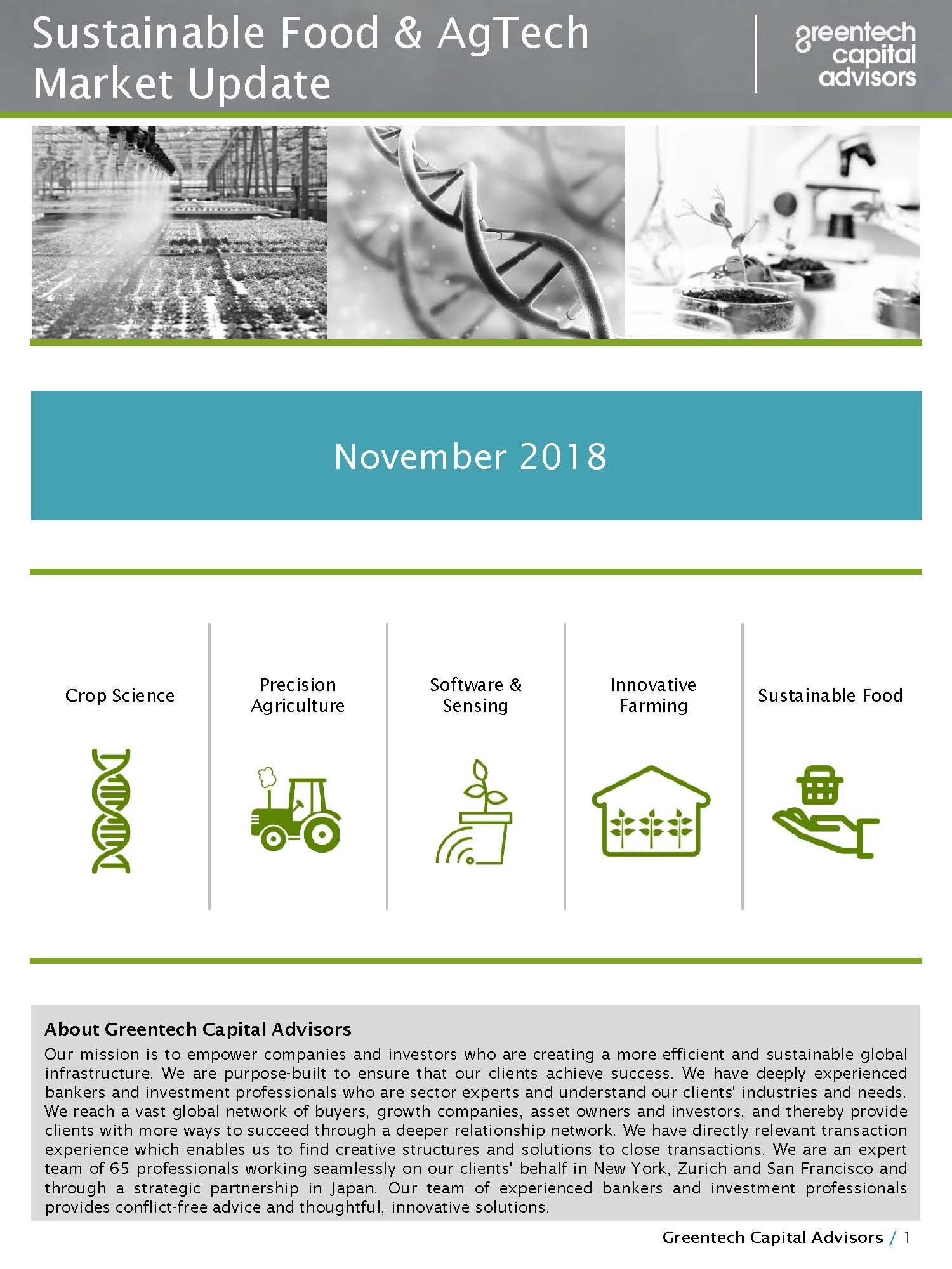 Sustainable Food & AgTech Market Update Newsletter - October 2018