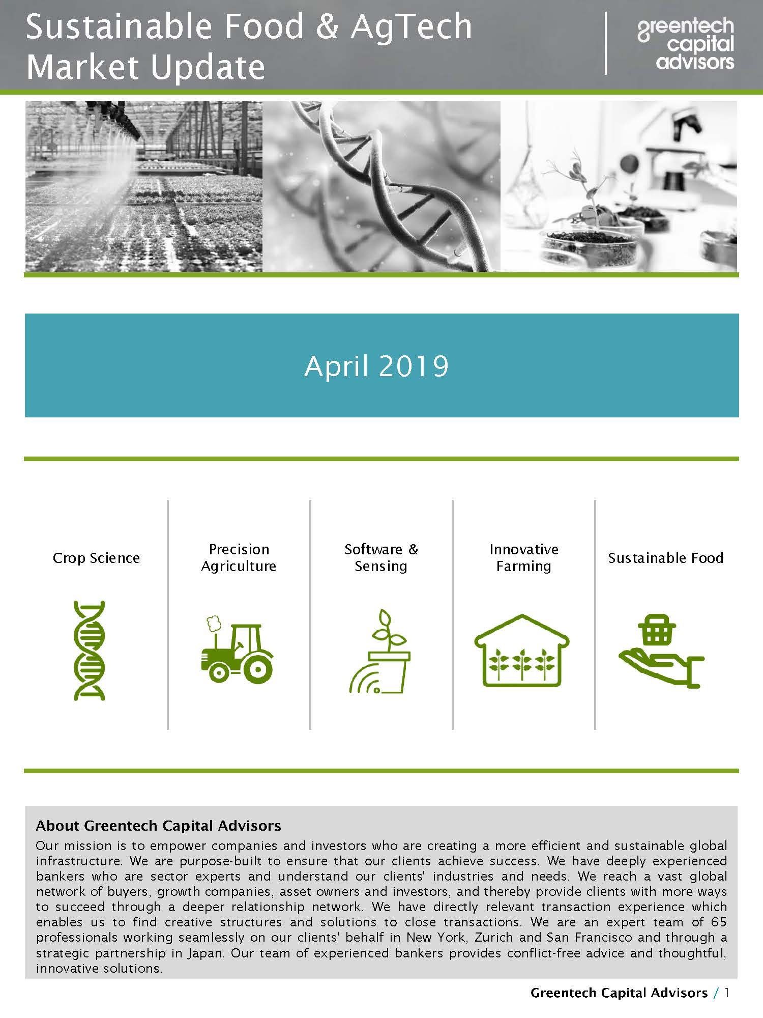Sustainable Food & AgTech Market Update Newsletter - April 2019