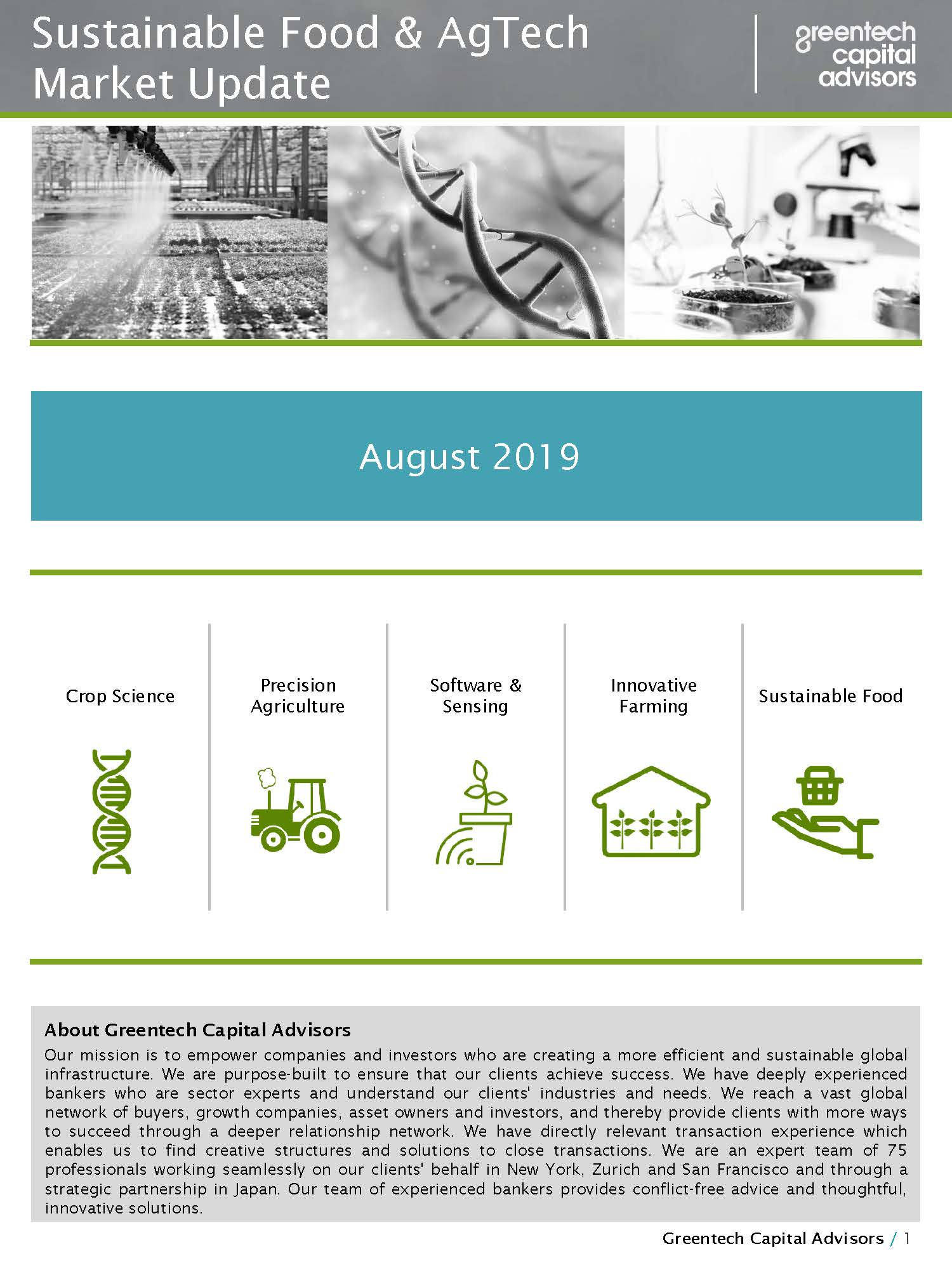 Sustainable Food & AgTech Market Update Newsletter - August 2019