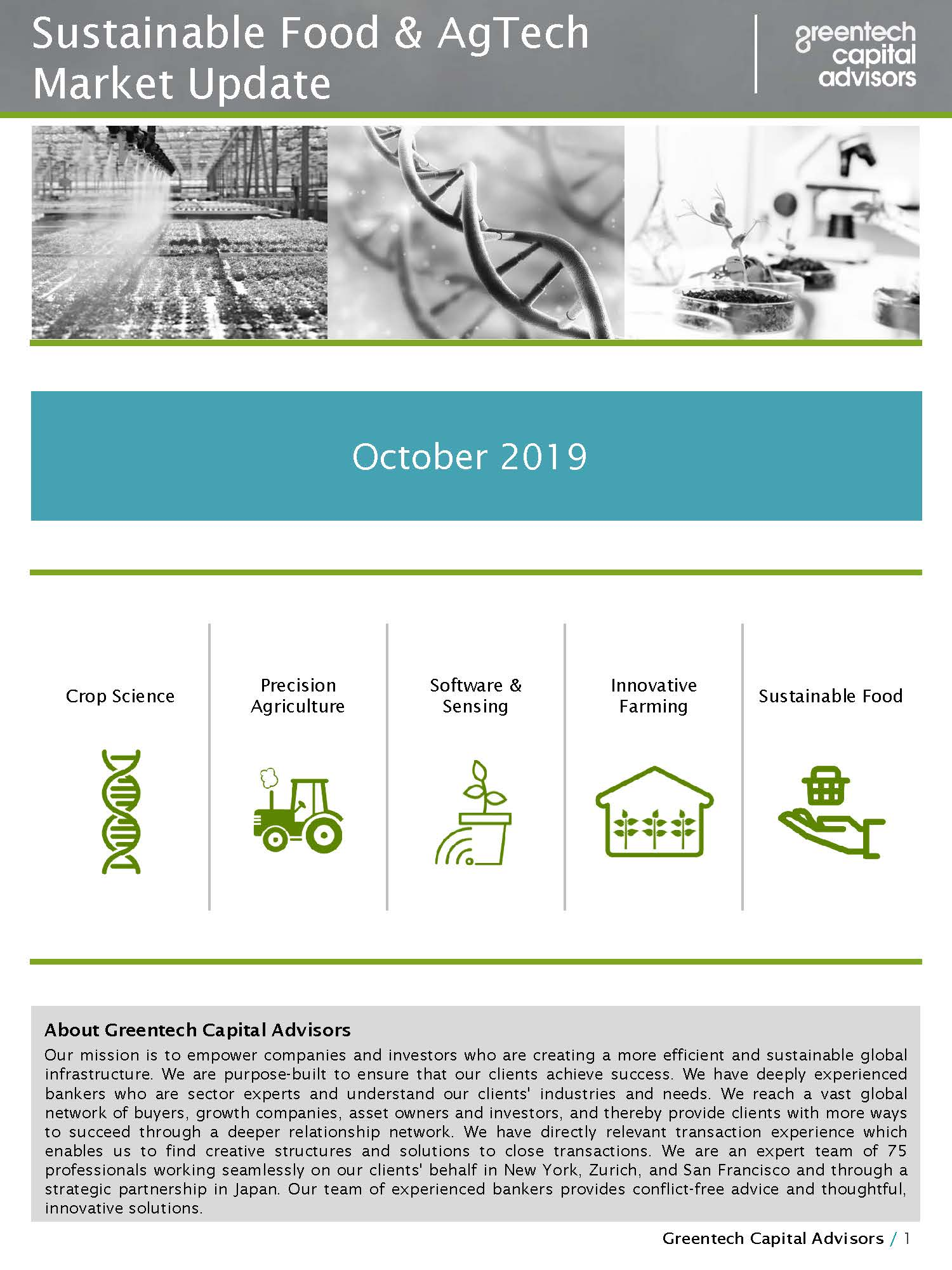 Sustainable Food & AgTech Market Update Newsletter - October 2019