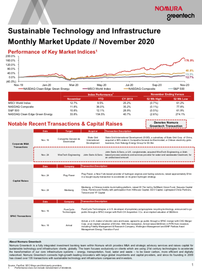 Sustainable Investing Monthly Market Update - November 2020