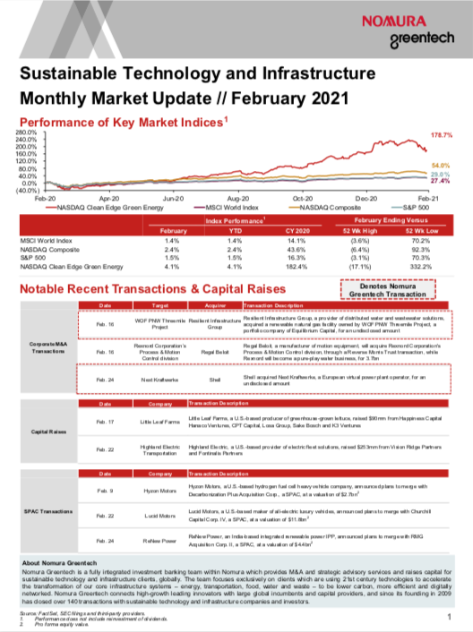 Sustainable Investing Monthly Market Update - February 2021