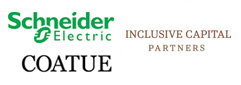 Schneider Electric, Coatue, and Inclusive Capital partners logos
